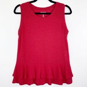 GAP Red Linen Blend Peplum Hem Sleeveless Tank XS